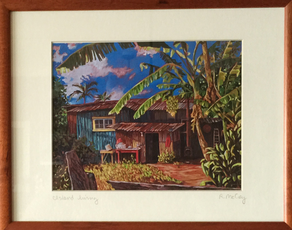 Watercolor by R. McCoy of the Simple Life With Warm, Abundant Nature  in Kaua'i