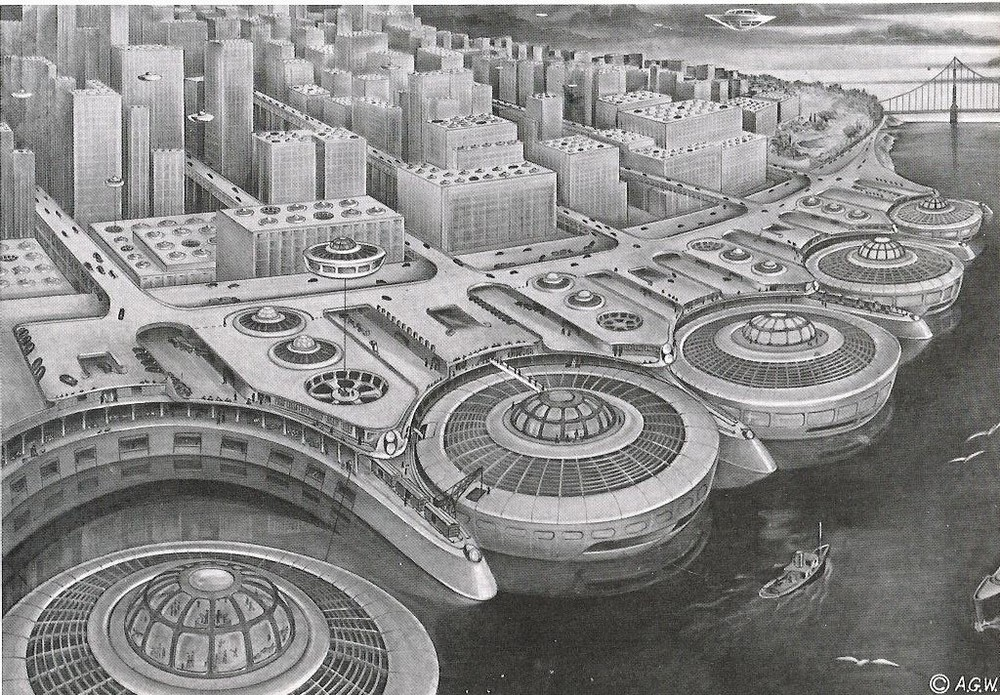 "The future look of San Francisco as imagined in 1975 by Alexander Weygers in 1950. The artist had received a patent for his ""discopter,"" and pictured the city with wharf-side, and rooftop landing spaces for his futuristic vehicles"