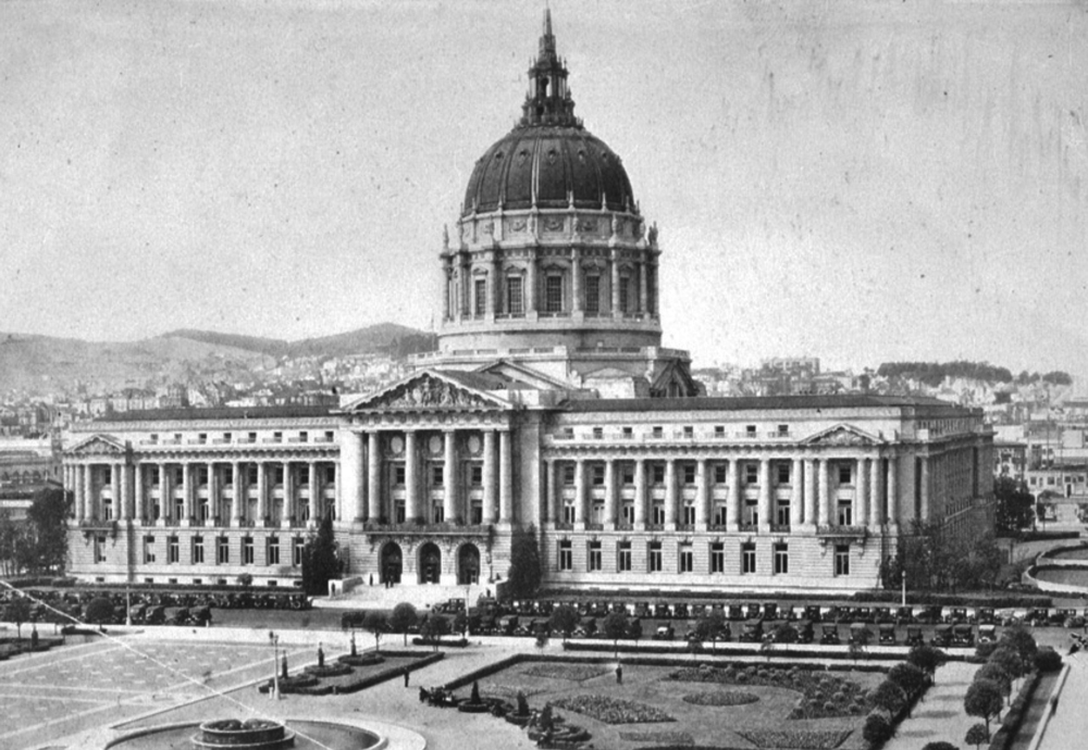 Early photograph of San Francisco's Current City Hall and the James P. Rolphe Junior Civic Center