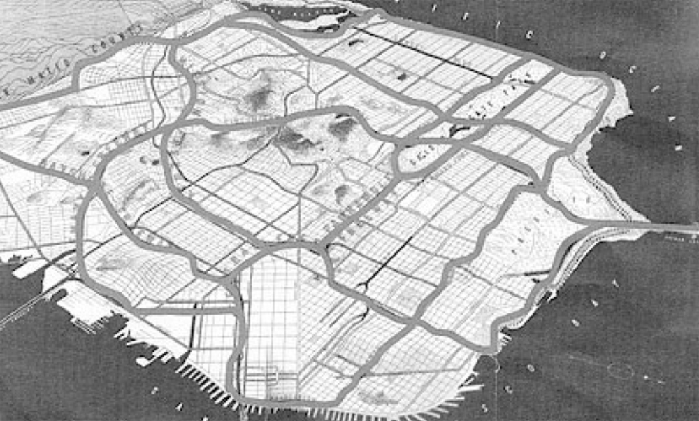 Proposal to build a freeway system connecting the South Bay area and western San Francisco to Golden Gate Bridge, 1958-1964