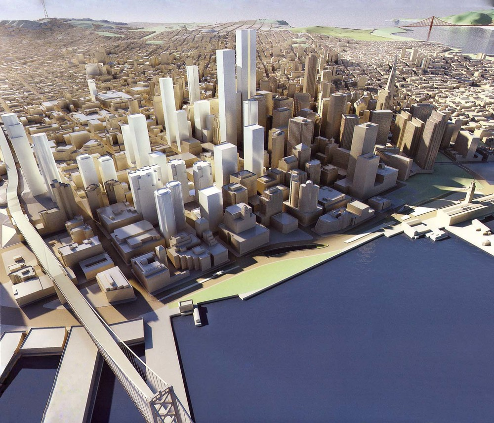 San Francisco in 2020, imagined in 2007 (source: unknown) with South of Market (SOMA) as the primary area of new growth