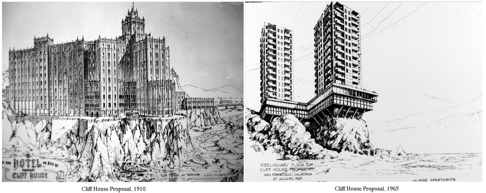 Two proposals for a new Cliff House after the destruction of the previous building in 1907.