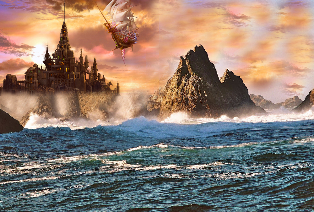 Farallon Islands Fantasy: Photo by Richard Von Trapp & John Duggan; Art by Kazumasa Uchio; Photoshop by Dr_Sequoia (2015)