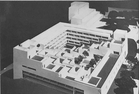 Mario Ciampi, design for a new Humanities building at the southwest corner of campus, 1971  The state department of finance deemed the proposed building too extravagant in its allocation of  office and class spaces.