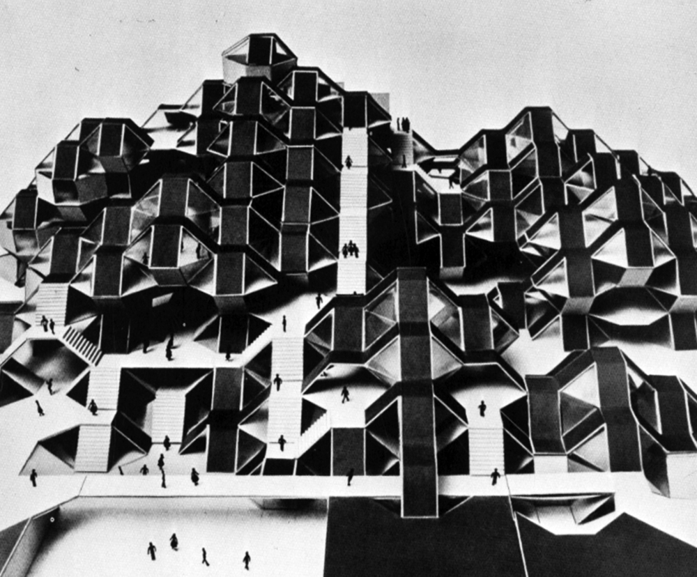 Moshe Safdie's design for a new student building, San Francisco State College, 1968