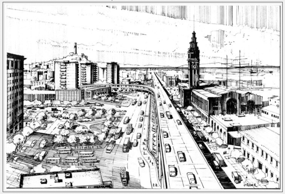 Vernon DeMars plan to enhance the Embarcadero Freeway with a plaza across the road (pre-1989)