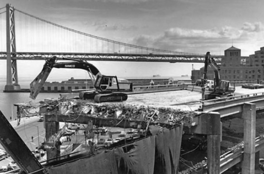 Destruction of the Embarcadero Freeway after the 1989 Loma Prieta Earthquake