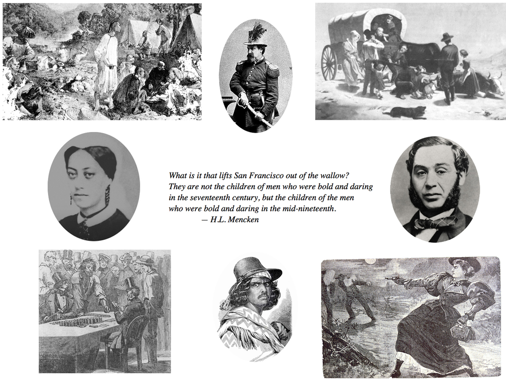 Images from upper left, clockwise: Chinese gold mines, Emperor Norton, Wagon train disaster, Levi Strauss, Madame Moustache, Joaquin Murietta, The Idle Miner, Mary Ellen Pleasant