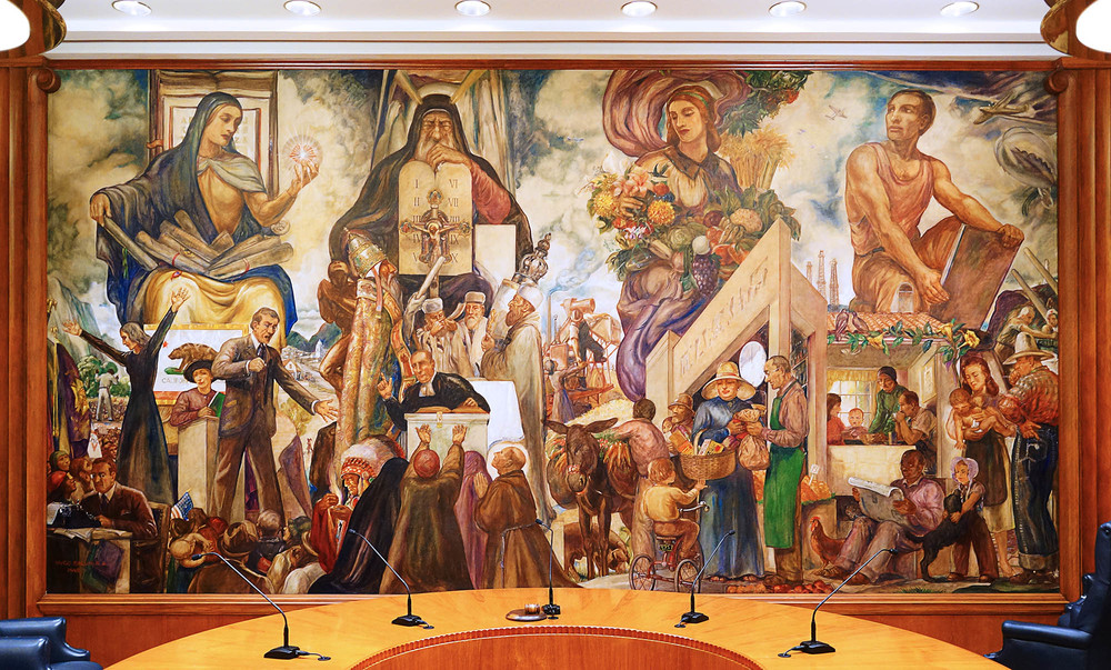 "Burbank City Hall Council Chamber mural: ""The Four Freedoms"" by Hugo Ballin (1942)"