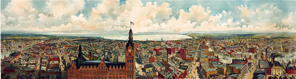 Milwaukee panorama, 1898, with city hall in the foreground