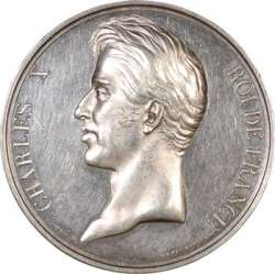 Silver medal, featuring King Charles X, for the 1827 exposition