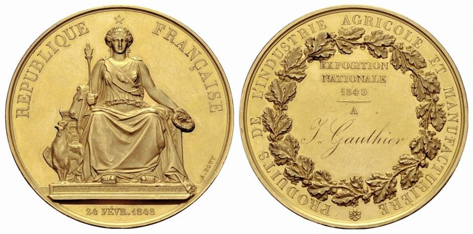 Exposition medal designed by Antoine Bovy The date on the front denotes the founding of the Second Republic
