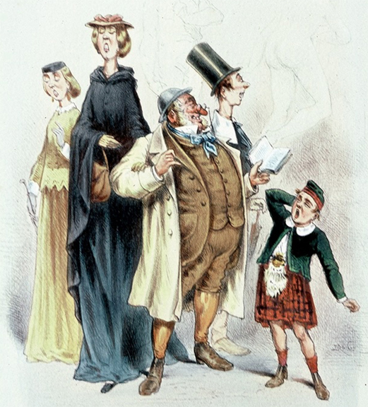 """Oh! Shocking! Oh! Beautiful!"" -- French caricature of English visitors at the 1867 exposition"