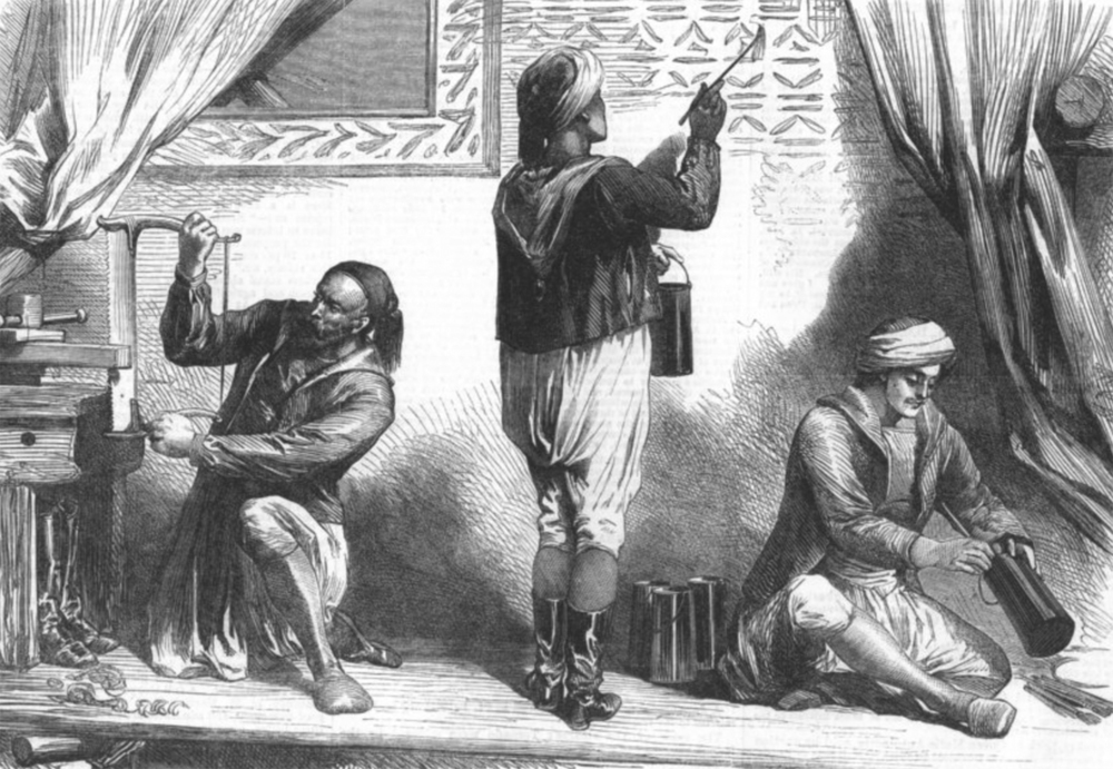 Arab workmen in the Tunisian pavilion of the 1867 exposition