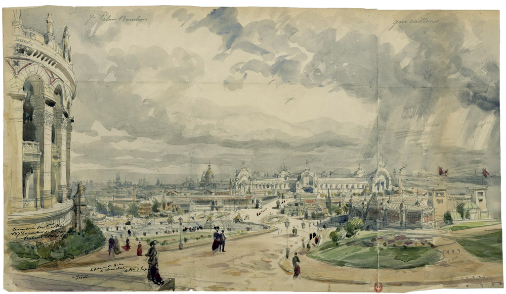 Watercolor sketch, by H. Clerget, of the opening day of the exposition, May 1, 1878