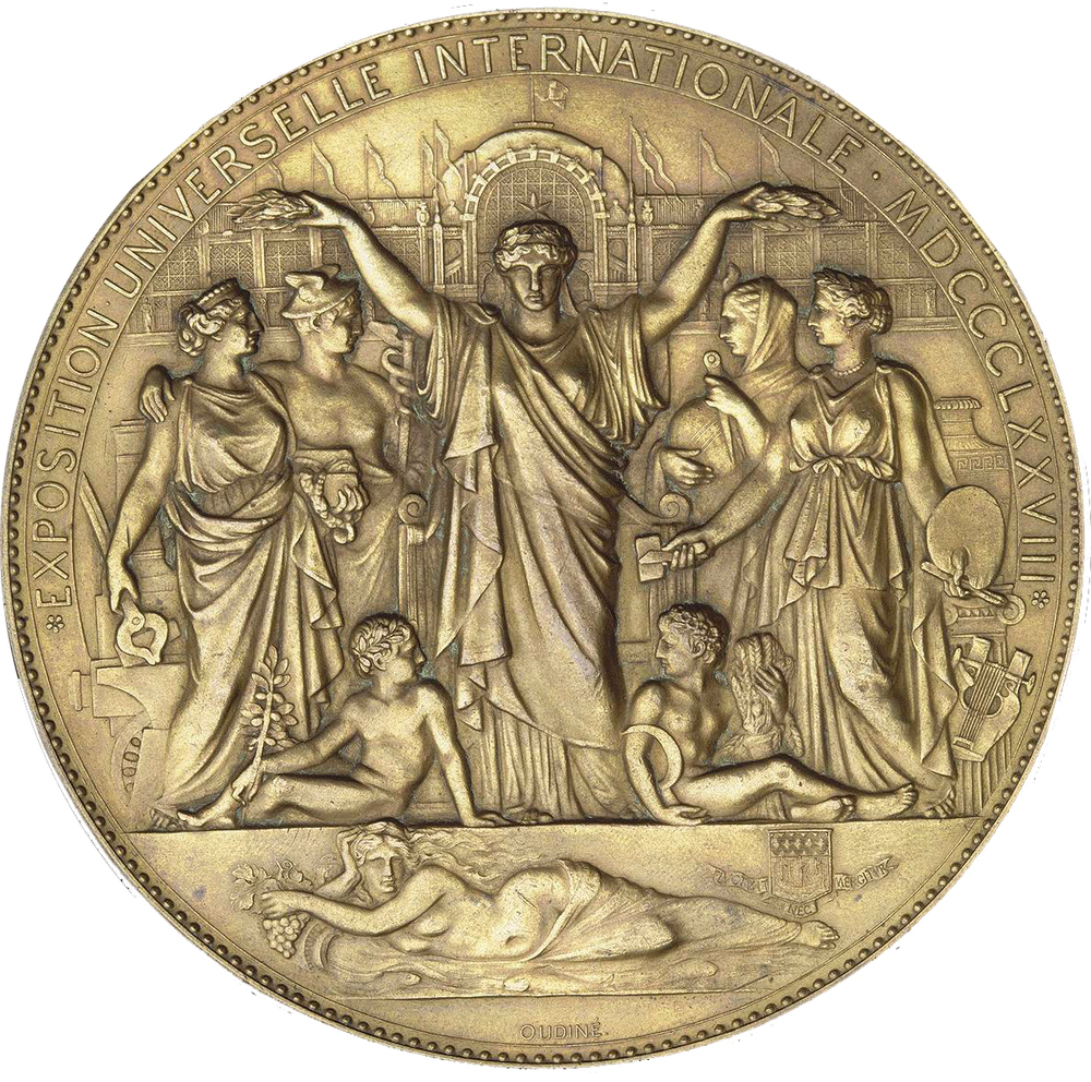 1878 Exposition Medal by Eugène André Oudiné ( click the image for a larger view )