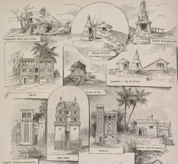 "Drawings of some of the ""History of Habitation"" buildings (  click HERE for a larger view  )"