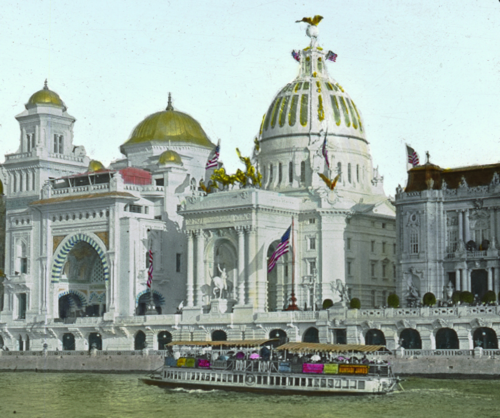 The American Pavilion (center) at the 1900 Exposition