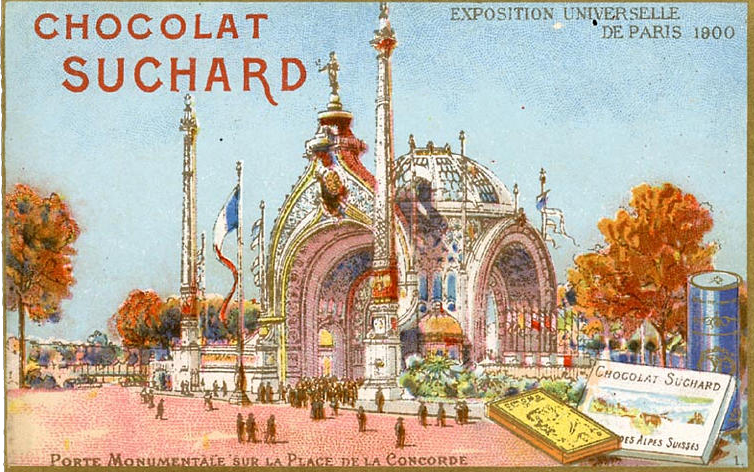 Advertising card featuring the Porte Monumental (  click here to see Alphonse Mucha's design for he gateway  )