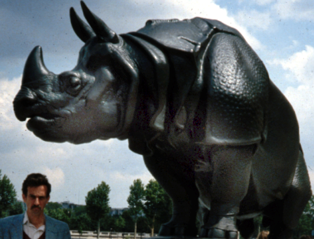 The author and the Rhino, some time in the 1980s