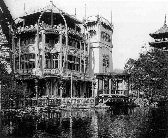 The Art Nouveau Pavilion Blue at the foot of the Eiffel Tower;  René Dulong, architect and   Gustave Serrurier-Bovy, decorater