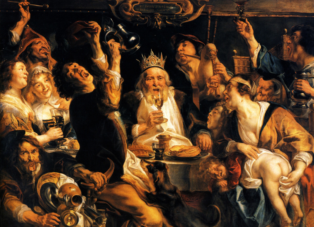 ... and Flemish folkways continue.  ( Jacob Jordaens,   The King Drinks,   1640)