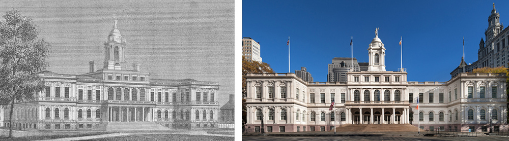 New York City Hall, 1811 and 2011
