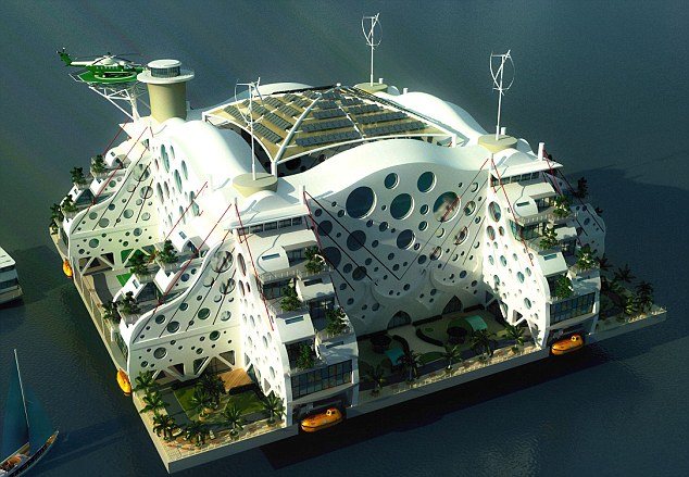 Three views of Paypal founder Peter Thiel's plan for a floating city off the coast of San Francisco, 2011 (Renderings: dailymail.co.uk)
