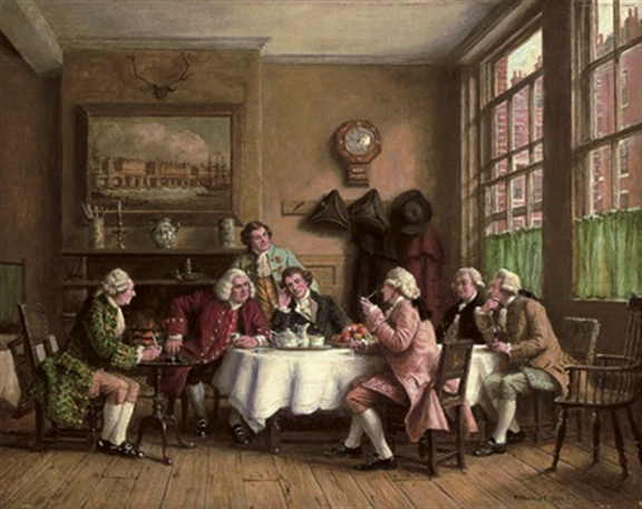 """Dr. Johnson at the Cheshire Cheese, Fleet Street"" by Frank Moss Bennett"