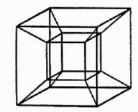 A Two-dimensional projection of a four-dimensional hypercube
