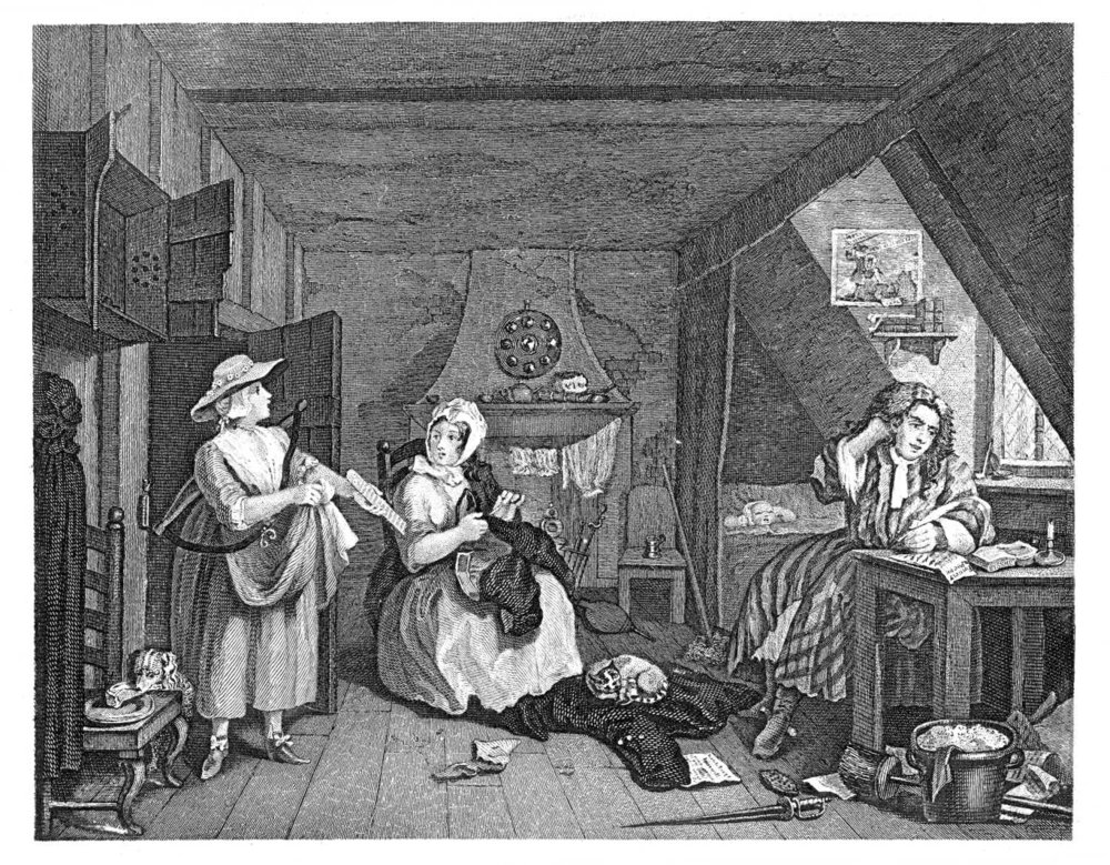 A distressed poet in a London Garret, by William  Hogarth