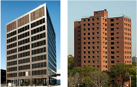Left: New Grand Rapids, Michigan city hall  Right: Frederick Douglass projects, Detroit, Michigan