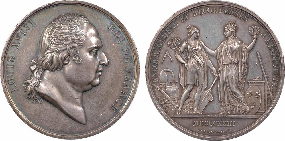 "Silver Medal for the 1823 Exposition:  Louis XVIII and ""France Awards Industry"""