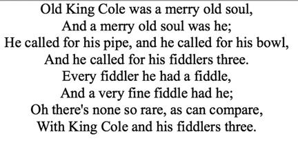 --British nursery rhyme, from the early eighteenth century
