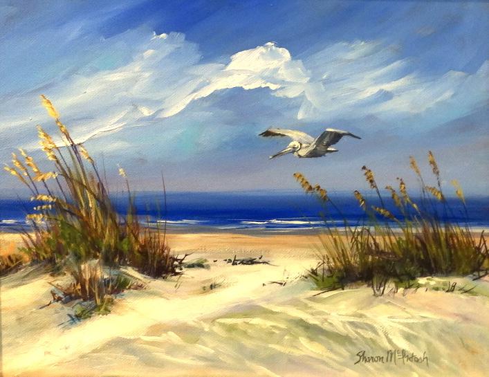 Pelican over Dunes