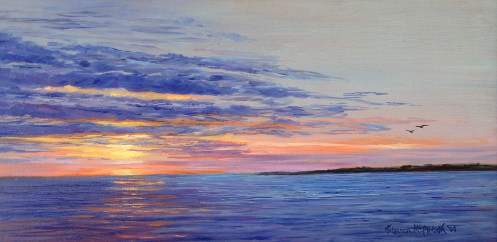 """Sunset on the James River 8"""" x 16"""""""