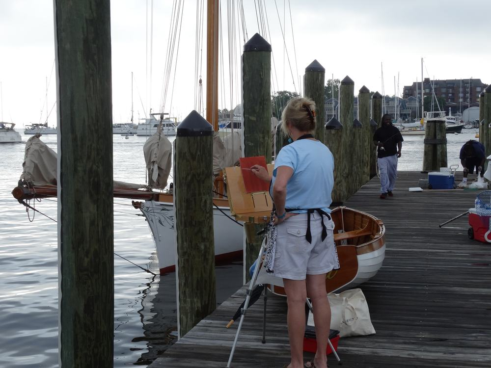 """Painting in the """"Paint Annapolis"""" Quick Draw event."""