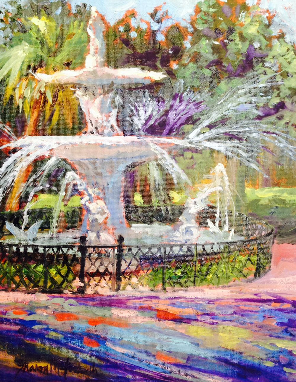 I have been painting in Forsyth Park for years...too many to tell. This painting placed 2nd in Oils in the Spring Show at the Landings Art Association