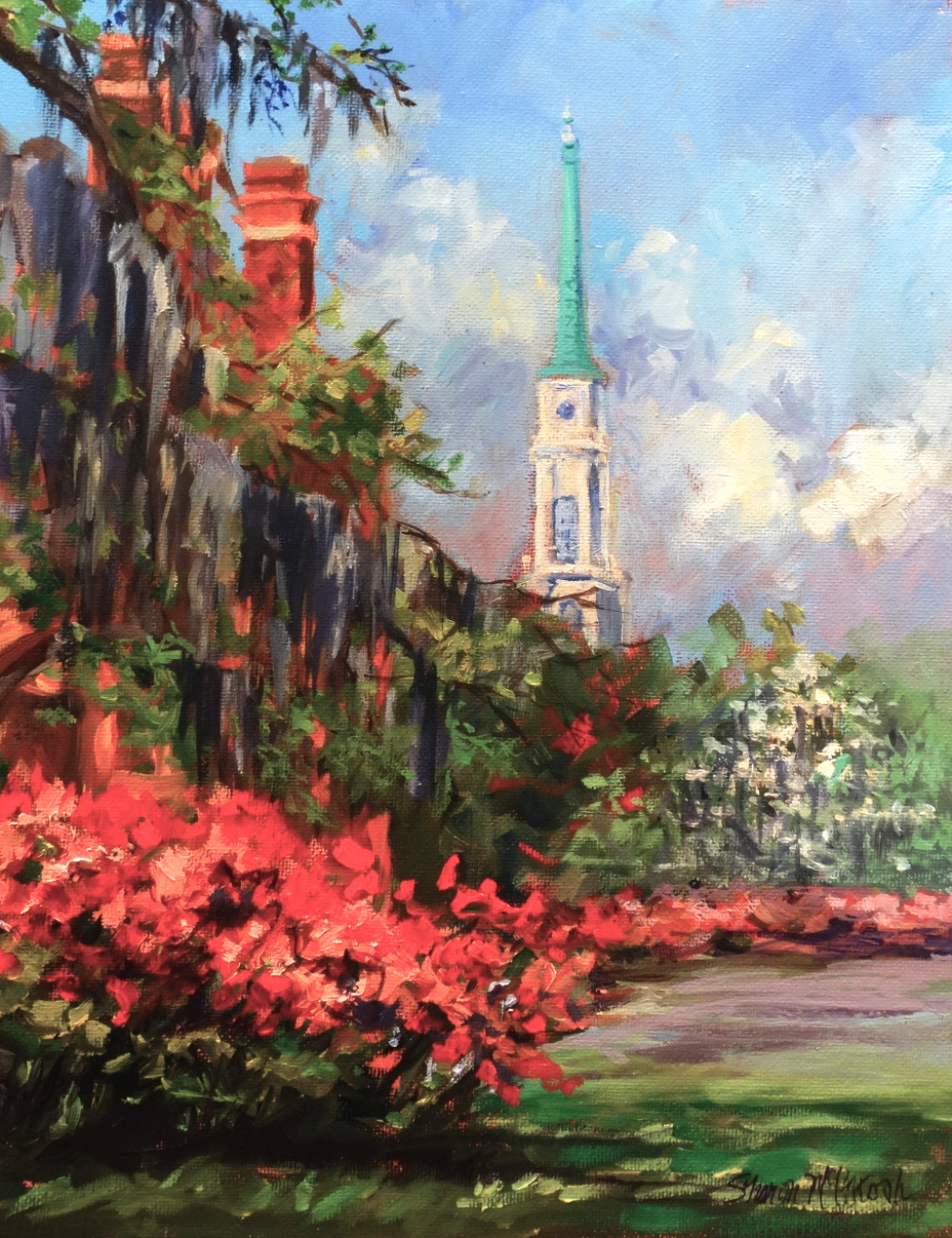 This was a great surprise when I was in front of Mellow Mushroom on Liberty looking for a subject to paint. It is the Independent Presbyterian Church steeple dressed up with our azalea's and Dogwood in bloom. The spring in Savannah is breathtaking.