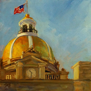 Savannah's Gold Leaf dome at City Hall is a landmark I could not pass by. Below is a painting of it from Johnson Square.