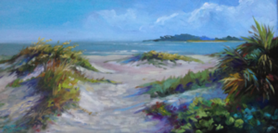 This painting of the south end of Tybee was done very quickly as I looked over my shoulder at a large thunderstorm. Little Tybee is in the background.