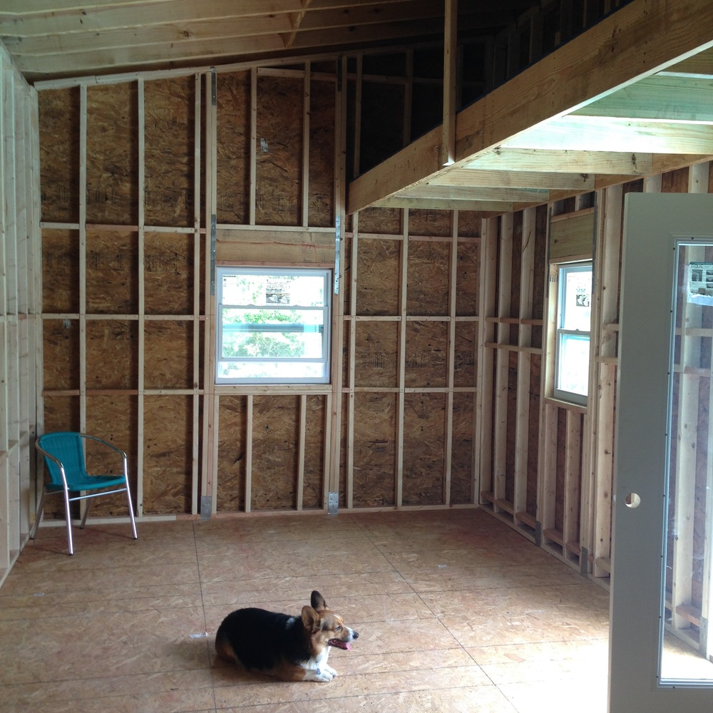 The Interior Framing with my loft for artwork storage