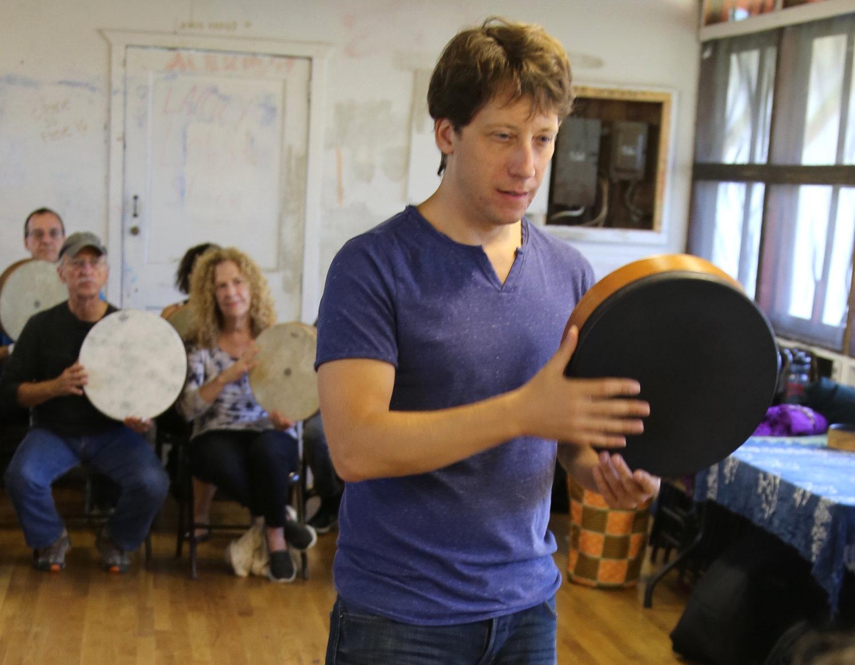 shane shanahan of the grammy® AWARD winning silk road ensemble teaching frame drum