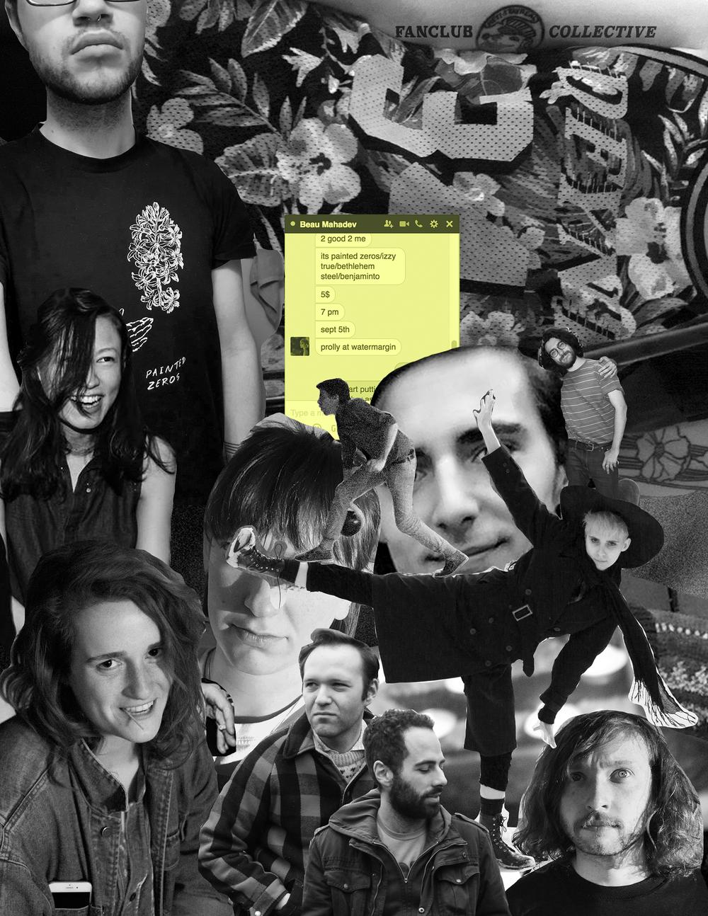 Original photos by Izabeau Giannakopoulos,Becca Ryskalczyk, and Benjamin Torrey. Poster for Fanclub Collective. 2016.