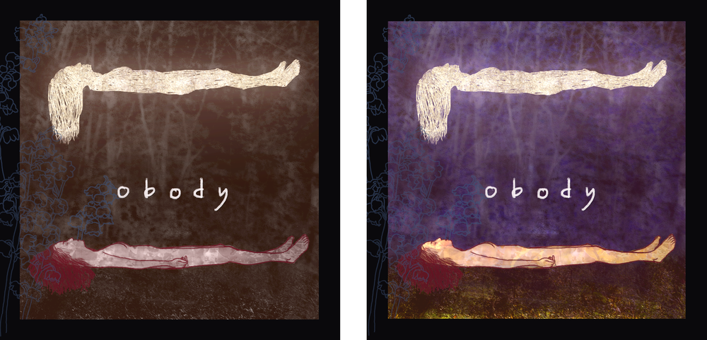 Collaboration with Peter Vincent. Album cover variants for  Is A Bridge / A Ready Place  by Obody. Released on Already Dead Tapes and Records. 2016.