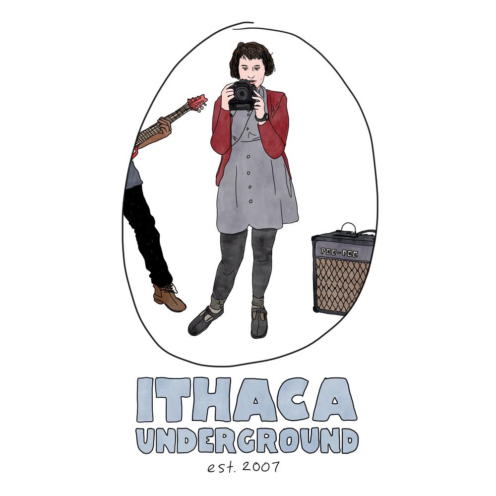 Album art for  Ithaca Underground: Vol. 3  compilation / t-shirt design for Ithaca Underground. 2017.