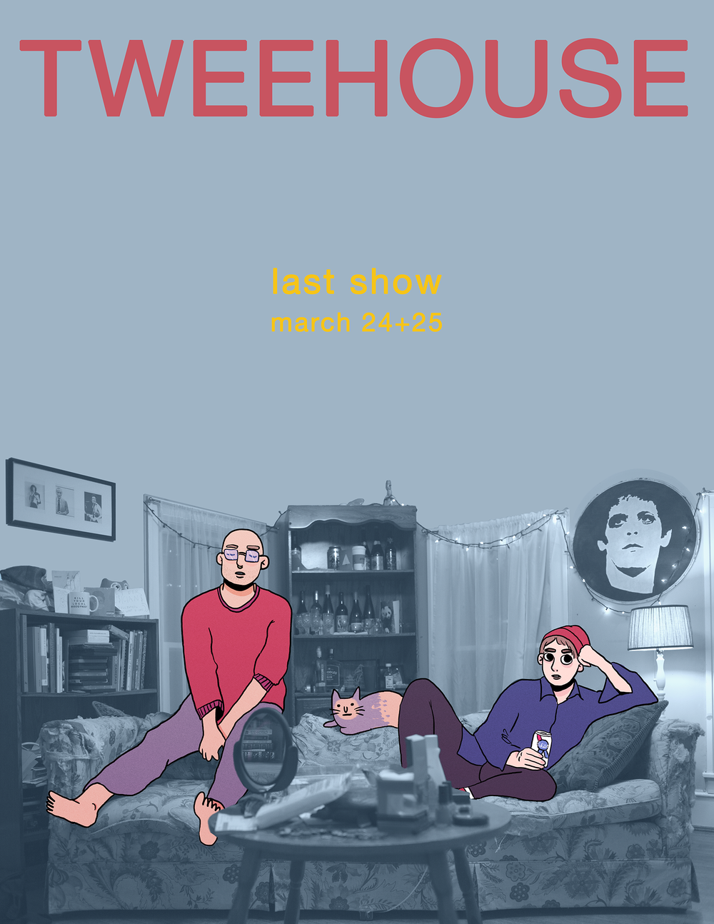 Collaboration with illustration by Francesca Hodge. Poster for Tweehouse. 2017.