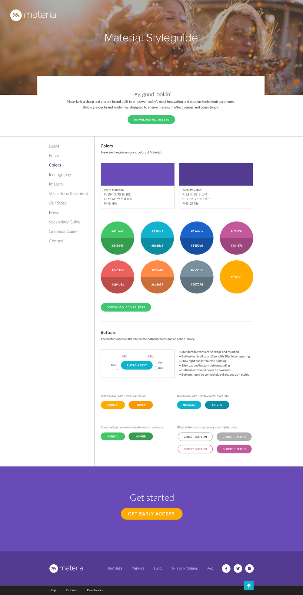 Full width view - Color and Button rules