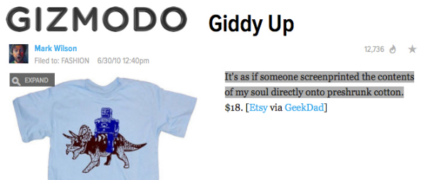 Gizmodo - Giddy Up