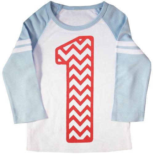 First Birthday Chevron Striped Raglan T Shirt AMZNo1ChevronBlueStripe